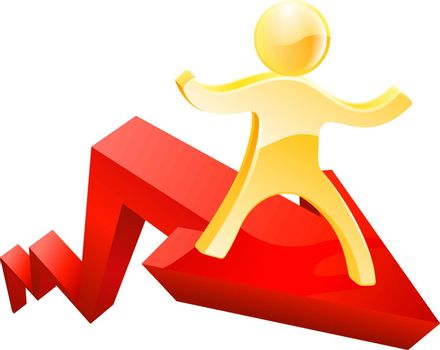Financial concept of a graph or chart arrow moving up with a person on it