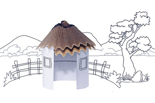 Paper Hut, Pencil Shavings Roof with Line drawing background