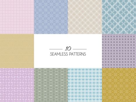 Vector illustration of  Set of geometric seamless patterns