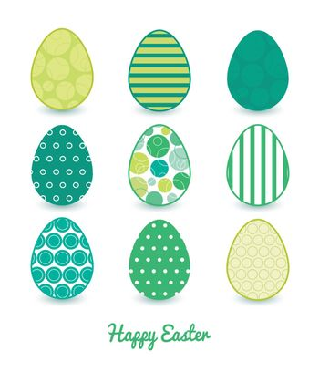 Vector abstract green circles set of nine colorful Easter eggs card template graphic design