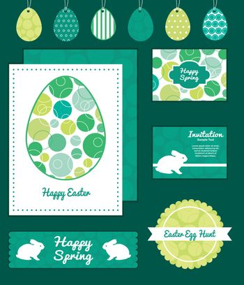 Vector abstract green circles set of Easter cards, labels, tags and banners templates graphic design