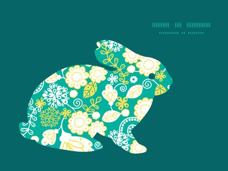 Vector emerald flowerals bunny rabbit silhouette Easter frame graphic design