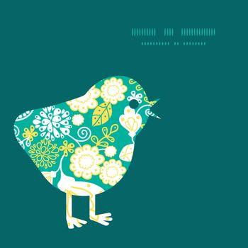 Vector emerald flowerals chicken silhouette Easter frame graphic design