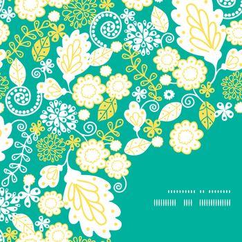 Vector emerald flowerals frame corner pattern background graphic design