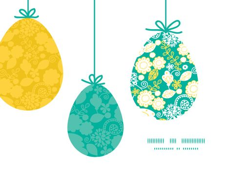 Vector emerald flowerals hanging Easter eggs ornaments sillhouettes frame card template graphic design