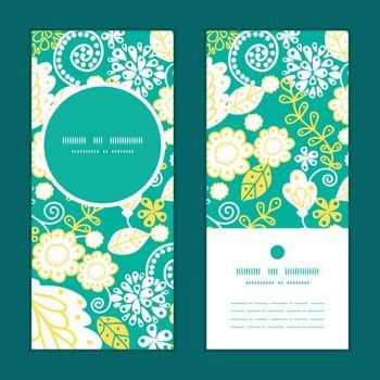 Vector emerald flowerals vertical round frame pattern invitation greeting cards set graphic design