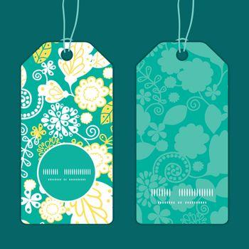 Vector emerald flowerals vertical round frame pattern tags set graphic design