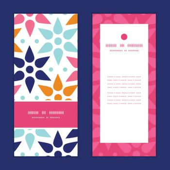 Vector abstract colorful stars vertical frame pattern invitation greeting cards set graphic design