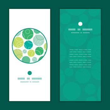 Vector abstract green circles vertical round frame pattern invitation greeting cards set graphic design