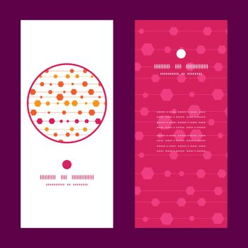 Vector abstract colorful stripes and shapes vertical round frame pattern invitation greeting cards set graphic design