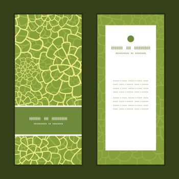Vector abstract green natural texture vertical frame pattern invitation greeting cards set graphic design