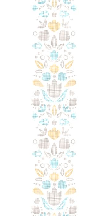 vector abstract vintage ornamental tulips  textile vertical border seamless pattern background