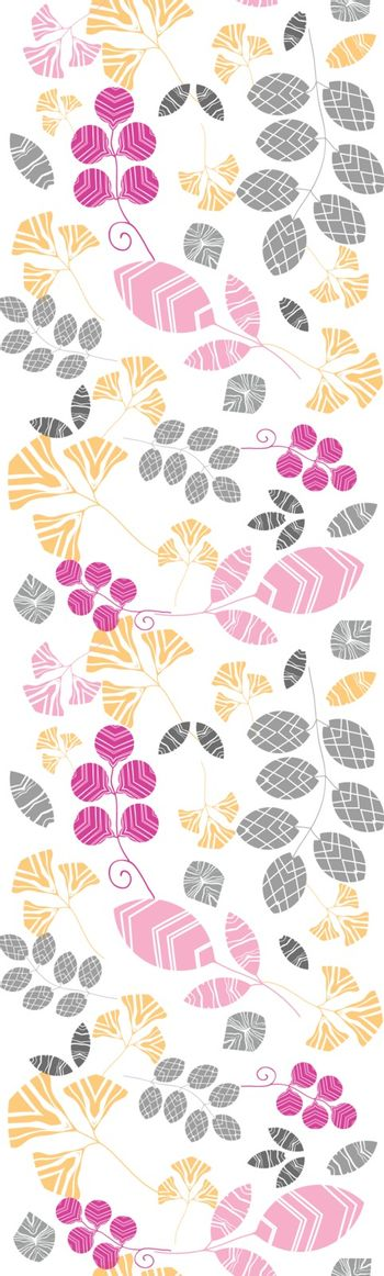 Vector abstract  pink, yellow and gray leaves vertical seamless pattern background with hand drawn elements
