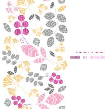 Vector abstract pink, yellow and gray leaves vertical frame seamless pattern background graphic design