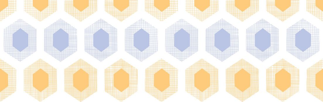 Vector abstract purple yellow honeycomb fabric textured horizontal seamless pattern background