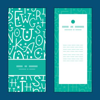 Vector white on green alphabet letters vertical frame pattern invitation greeting cards set graphic design