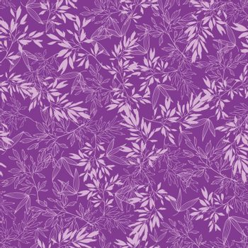 Vector purple branches seamless pattern background with hand drawn floral motif.