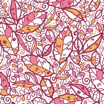 Vector cartoon fall leaves seamless pattern background with various hand drawn foliage in warm colors.