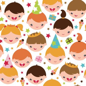 Vector kids at a birthday party seamless pattern background with hand drawn elements.