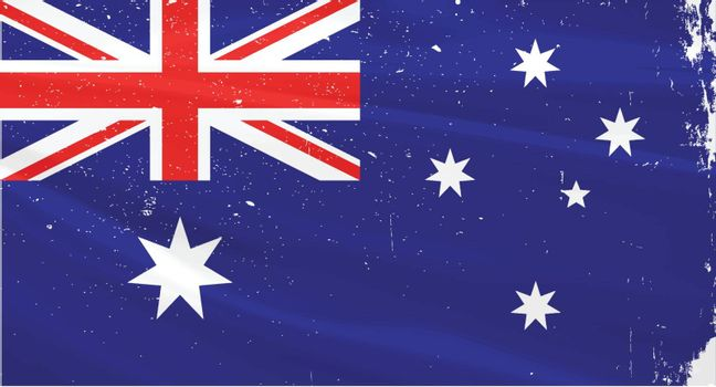 The flag of Australia with slight grunge effect