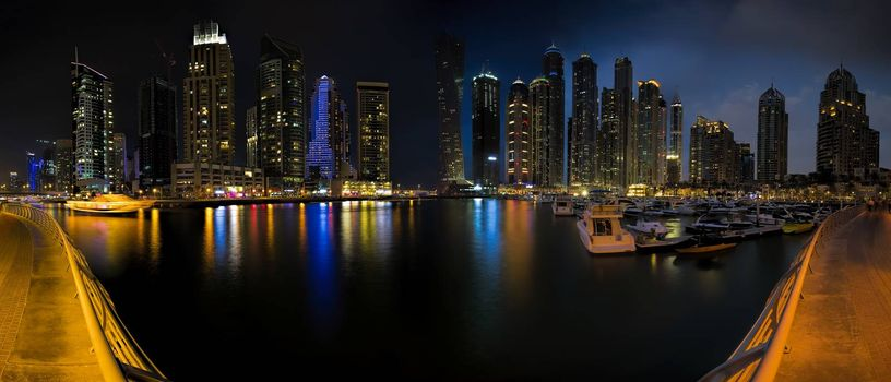 Skyline panorama picture shot at Dubai marina