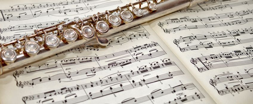 Musical notes and flute