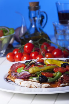Italian Pizza on blue background