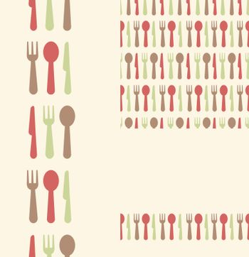 Vector set of three silverware seamless patterns and borders backgrounds