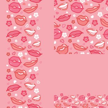 Vector smiling lips seamless pattern background with hand drawn elements.