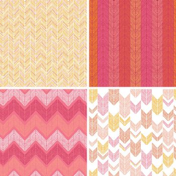 Vector set of four abstract textile stripes argyle seamless patterns background with hand drawn shapes.