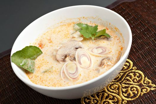 Creamy thai soup with coconut curry mushrooms and vegetables.