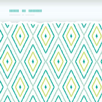 Vector green ikat diamonds torn horizontal seamless patterns backgrounds with hand drawn elements