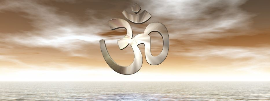 Aum symbol upon ocean by brown sunset - 3D render