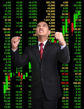business man in bull market stock investment concept