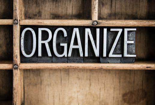 Organize Concept Metal Letterpress Word in Drawer