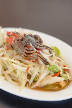 spicy papaya salad with crab