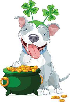 Pit bull celebrates Saint Patrick Day