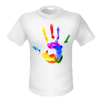 Fashionable whiteT-shirt with a sign. Multicolored silhouette of palm