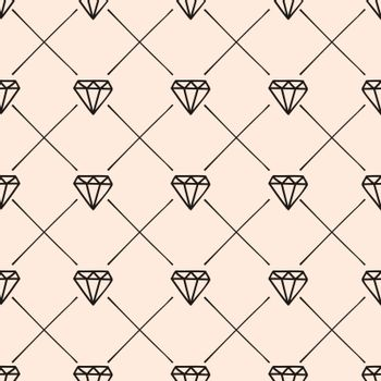 Diamonds and Lines Seamless Pattern