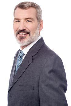 Senior male entrepreneur over white