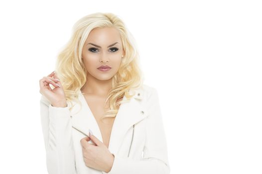 Close up Gorgeous Blond Woman in White Coat Dress