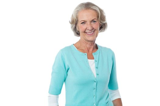 Fashionable aged woman over white