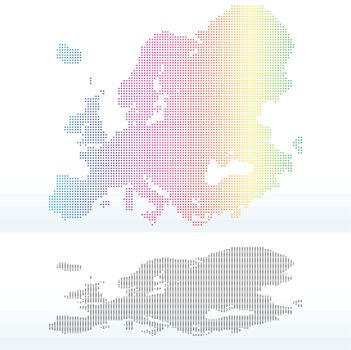 Map of Continent of Europe with Dot Pattern