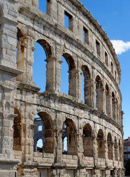Detail of ancient Roman amphitheater in Pula, Croatia