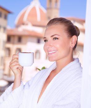 Drink morning coffee in Europe