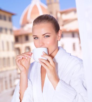 Having morning tea