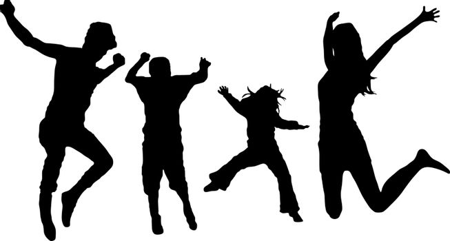 jumping family silhouettes isolated