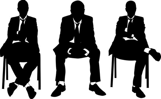 set of businessmen sitting on chairs