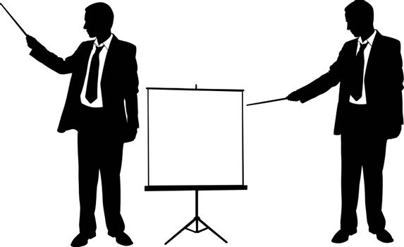 silhouettes of businessmen pointing