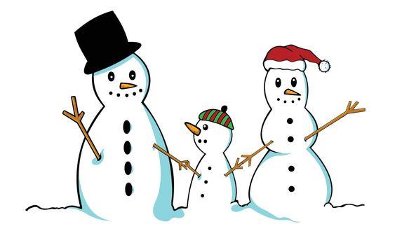snowman family illustration isolated